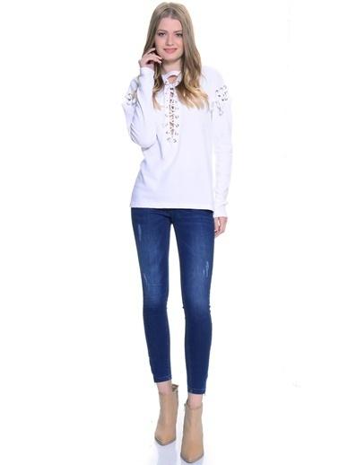 Missguided Uzun Kollu Tişört Beyaz